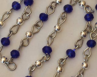 55cm of chain/beads 6mm Navy blue glass rondelles