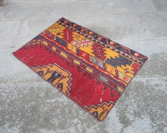 Turkish vintage rug FREE SHIPPING ! Door mat,entrance rug,shabby rug,outdoors rug,hand made Turkish rug,vintage rug,30'' x 27'' inches