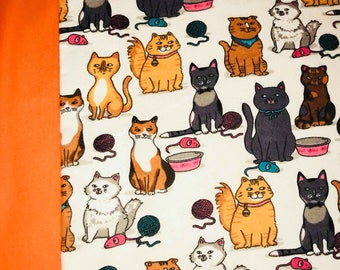 Adorable Vibrant Orange Cat Patterned Child/ Toddler Sized Sewn Blanket