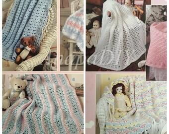 PDF 6 Crochet Baby Love Afghans (Shell Stitch)