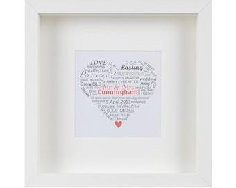 Framed Personalised 'Mr & Mrs' Artwork