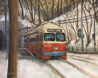 Pittsburgh Trolley Watercolor 14x11 Digital Download