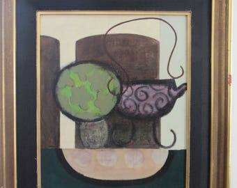 Vintage surrealist oil on canvas - still life - signed