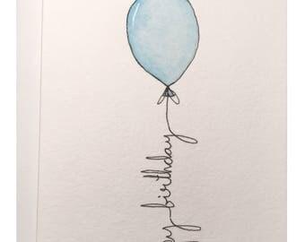 Blue Balloon Birthday card