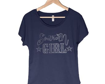 Southern Girl Bling Shirt/Ladies Stylish Bling/Southern Saying in Bling/Women's Dolman Shirt in Bling