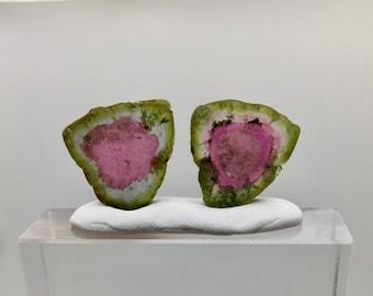 24.65 cts Undamaged watermelon tourmaline slices pair