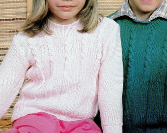 Boy/Girl Cable Knit Jumper, Knitting Pattern, Instant Download.
