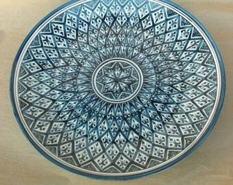 Cake Plate in Lozenges Blue Pattern