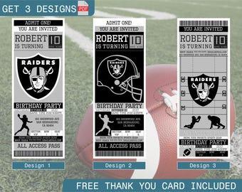 Oakland Raiders Birthday Invitation, Printable Ticket Party Invitation, Football Personalized Birthday Invite, Digital Files