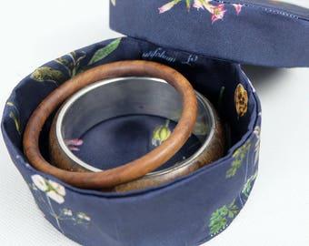Fabric - blue jewelry box Herbarium-floral print