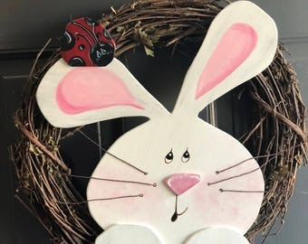 Easter Bunny Wreath, Wooden Bunny, Grapevine Wreath, Easter, Wreath, Easter Wreath, Bunny Wreath, Bunny, Ready to Ship