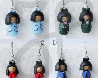 Traditional Japanese dolls Kokeshi-earrings