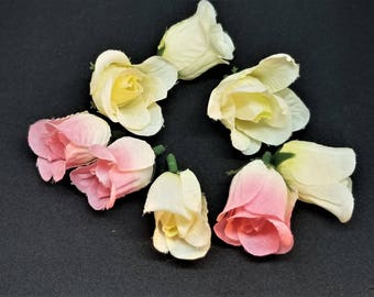 11 pieces - Cream and Pink Small Mini Roses Buds, Artificial Flowers, Silk Roses, Small Roses, Mini Silk Roses