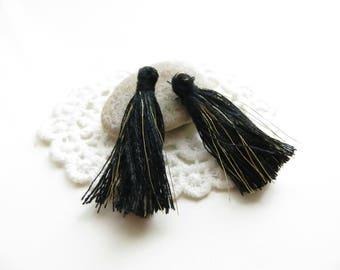 4 35mm black gold silk tassels