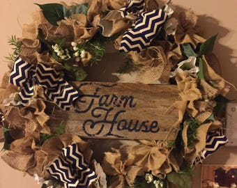 Farmhouse burlap wreath