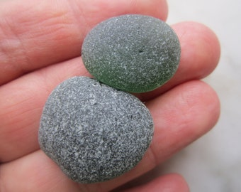 2 pcs Green Sea Glass/Beach Glass for Jewelry making ,collection/Art.V-132