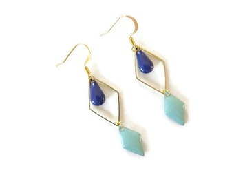 Diamond Earrings gold, Midnight blue and green