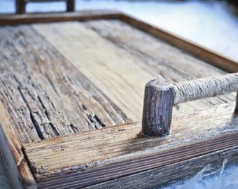 Rustic Wood Tray with Tree Branch Handles - wooden tray / wood tray / serving tray / shabby chic tray / reclaimed wood tray