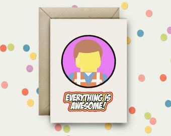 Everything is Awesome Pop Art and Quote A6 Blank Greeting Card with Envelope