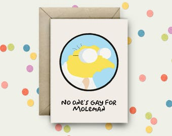 Hans Moleman Pop Art and Quote A6 Blank Greeting Card with Envelope