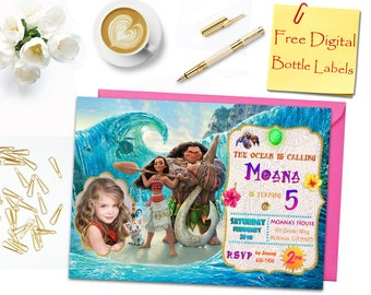 Moana Birthday Invitation, Moana Invitation, Moana Photo Invitation, Invitations, Moana Labels, Water Bottle Labels, Moana