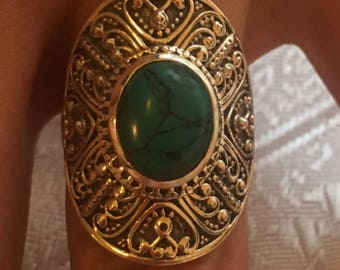 Ring 925 sterling silver natural turquoise: size 57