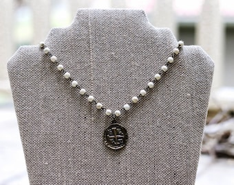 White Howlite Necklace with Pendant