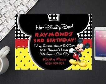 Mickey Mouse Invitation, Mickey Mouse Birthday, Mickey Mouse Invites, Mickey Mouse Party Printables, Mickey Mouse Custom