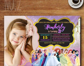 Disney Princess Invitation, Disney Princess Birthday Invite, Personalized Princess Invitation, Disney Princess Invitation With Photo