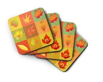 Thanksgiving Coasters, Autumn Leaves, Thanksgiving Decorations, Drink Coaster Set, Fall Colors, Hostess Gift, Set of Four.