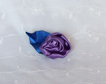 Purple flower and leaf blue crocodile hair clip