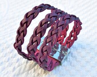 Purple braided leather Cuff Bracelet