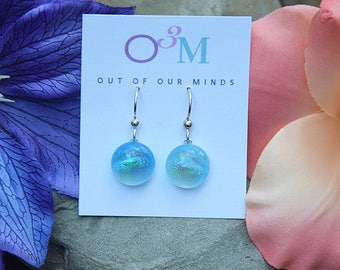 Monterey ~ Dichroic Circle Drop Earrings in Pale Turquoise with flashes of Aqua and Blue