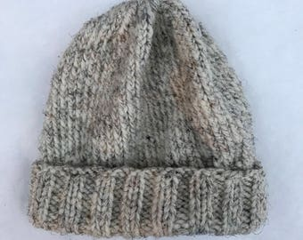 Cozy Oatmeal Hand Knit Hat