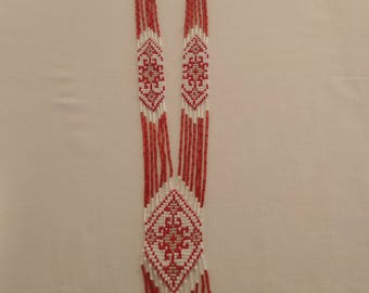 Handmade Beaded Necklace, Red  White  Gerdan, Traditional Ukrainian Necklace, Long Beaded Necklace, Beadwork, Seed Bead Jewelry