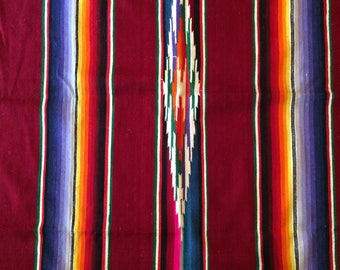 Maroon Serape Throw Blanket