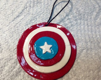 Captain America polymer clay ornament.Captain America gift tag.Captain America party favors.Captain America Christmas ornament.