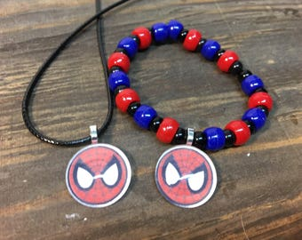 Spider-man party favors.Spider-man bead bracelet.Spiderman pendant necklace.Spider-man jewelry.Spiderman gifts