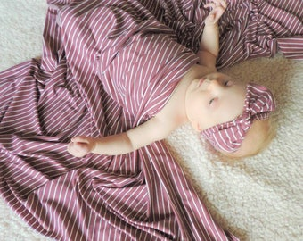 Baby swaddle set in dark mauve & ivory stripe/ baby girl blanket / baby stretchy swaddle / baby girl shower gift / swaddle set girl