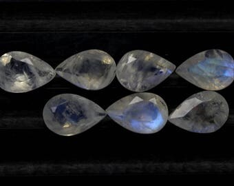 Natural Rainbow Moonstone Flash fire Size 6x9 MM Approx 7 PCs Lot Faceted Pear Code- HR25