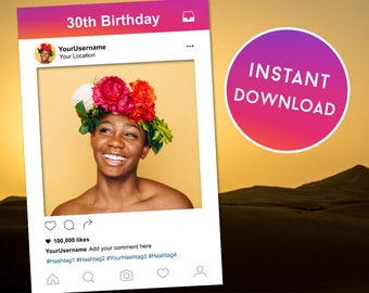 Instagram Template, Selfie Frame, Instagram Frame, Instagram Photobooth, 30th Birthday, Instagram, Instagram Prop, Photobooth Frame