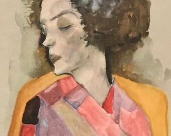 "Egon Schiele ""Girl Dreaming"" from Egon Schiele-As a Draughtman by Otto Denesch, 1950, 9.25 x 13.5 inches"