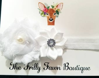 White Flower Headband, Toddler Headband, Infant Headband, Baby Shower Gifts, Little Girl Headband, Boutique Hair bows, Frilly Fawn Boutique
