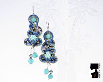 Soutaches Earrings Jade Hard stone-soutaches earrings-long earrings-stone earrings-gift for her-Valentine's Day