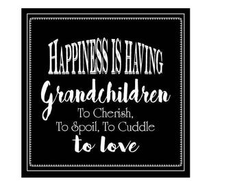 Grandchildren Sign, Happiness Is Grandchildren Sign, Grandparent Sign, Love Grandchildren Sign, Inspirational Sign, Faux Chalk Sign