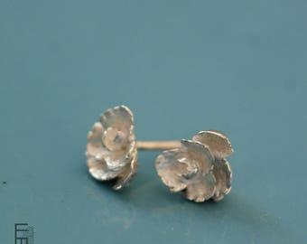 FLORAL - Pendientes de Plata (modelo pequeño), replica de una flor real