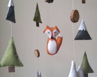 Fox Baby Mobile || Mountain Baby Mobile || Woodland Nursery || Baby Boy Mobile || Felt Mobile || Woodland Mobile | Outdoor Adventure Nursery