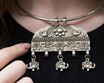 Elephant Necklace, Bohemian Necklace, Boho Necklace, Solid Silver Choker, Pendant, Boho Statement Necklace, Ethnic Necklace, Tribal Necklace