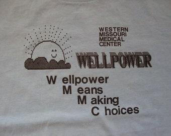 Vintage 80's Western Missouri Medical Center Wellpower Souvenir Blue T Shirt Size M