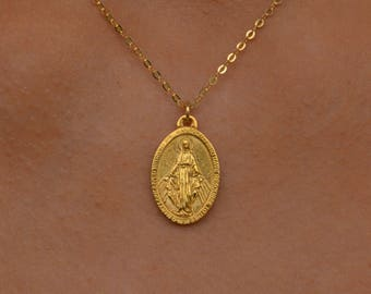 Gold Miraculous Medal, Virgin Mary Necklace, Miraculous Medal Necklace, Mother Mary Necklace, Religious Medal, Miraculous Medal Charm